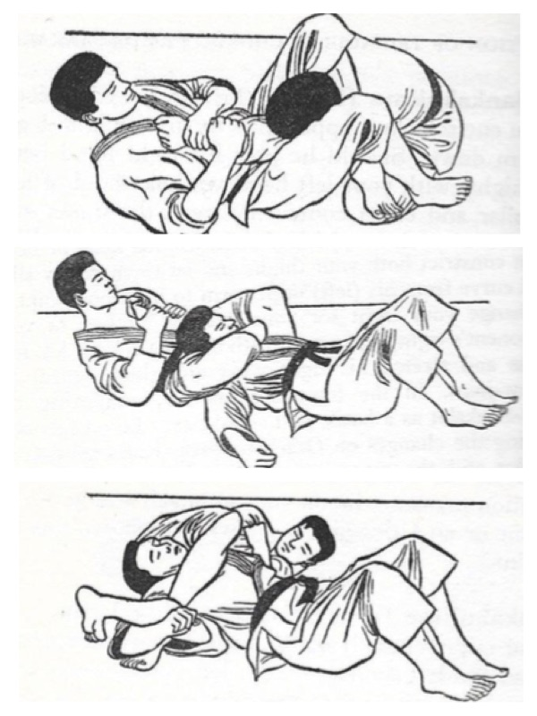 "Three versions of the triangle choke. The figures are from the book ""Judo on the Ground – The Oda Method""; by E.J. Harrison, published in 1959."