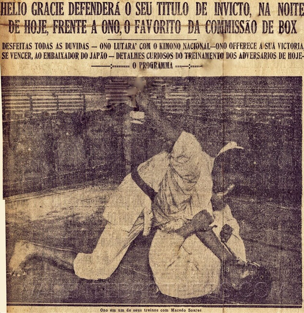 Yasuichi Ono working the triangle choke while preparing for his match with Helio Gracie. This was from a Brazilian newspaper dated December 5, 1935.