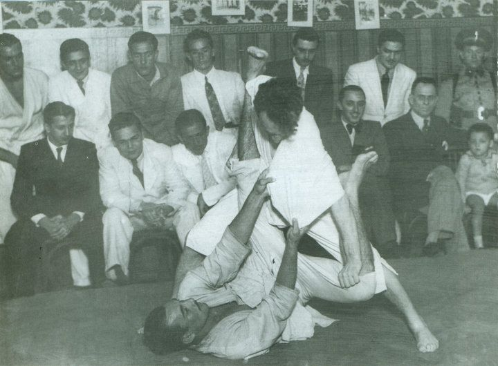 Helio and Carlos Gracie demonstrating the art of jujutsu.