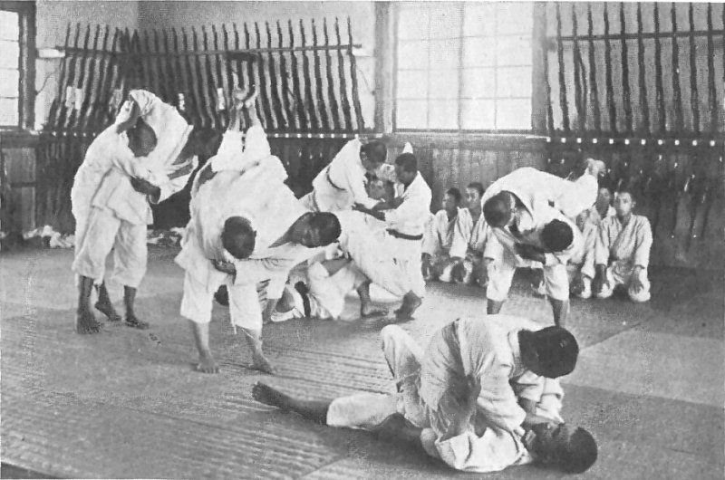 Jujutsu training at an agricultural school in Japan around 1920.